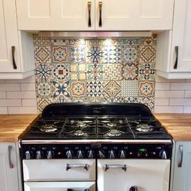 geometric tiles in a kitchen