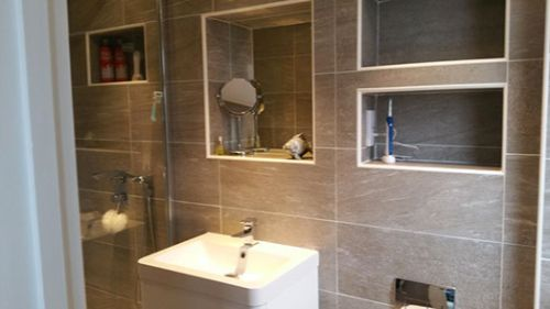 tiled bathroom shelves